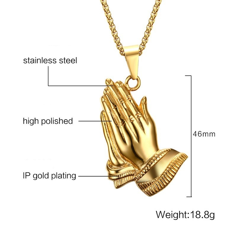 Stainless steel praying hands big pendants jewelry gifts hand 01g aloadofball Image collections