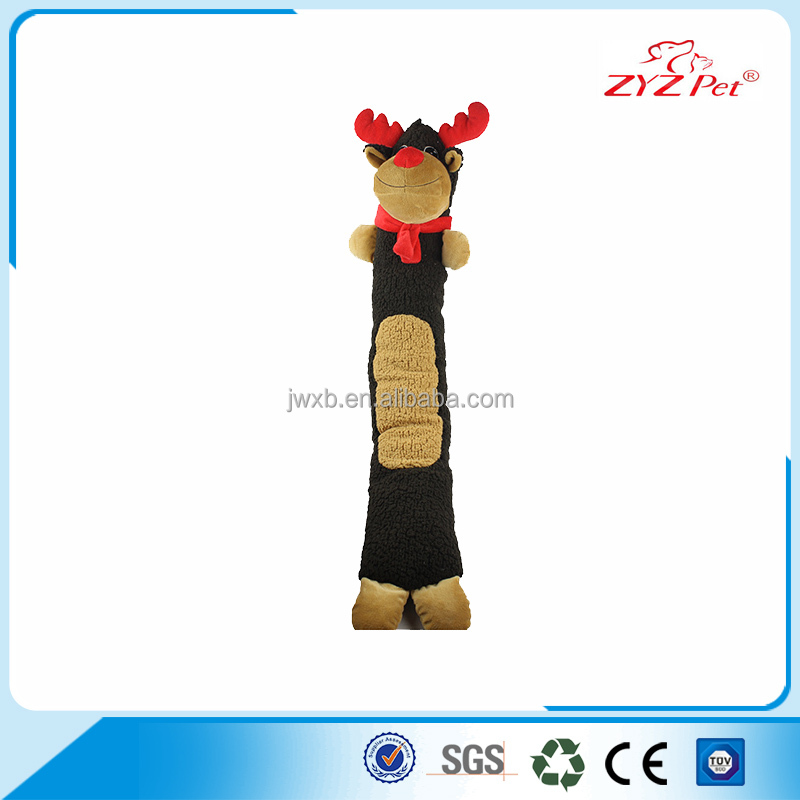 Reindeer sleeping pet toy plush dog squeaky toy with long body