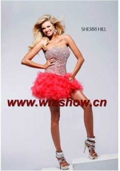 2012 Off-shoulder Ball Gown Beaded Red Cocktail Dress For Children
