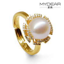 Fashion pearl finger ring/lady interchangeable living pearl ring