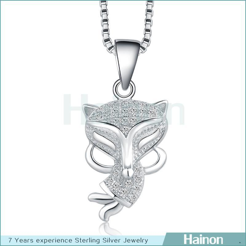 Fashion charm accessory animal shape genuine 925 sterling silver fox pendant necklace