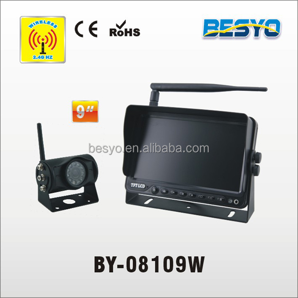 wireless truck/bus reversing camera system,9 inch wireless monitor with wireless camera system BY-08109W