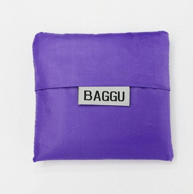 1 PC BAGGU Square Pocket Shopping Bags Candy Colors Available Eco-friendly Reusable Folding Portable Handle Nylon Bag