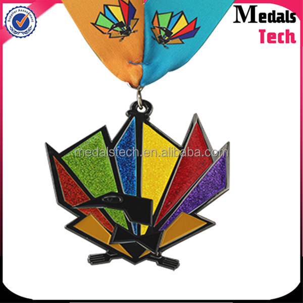 Colorful finish high quality Origami shape custom glitter soft enamel 10k sport medal