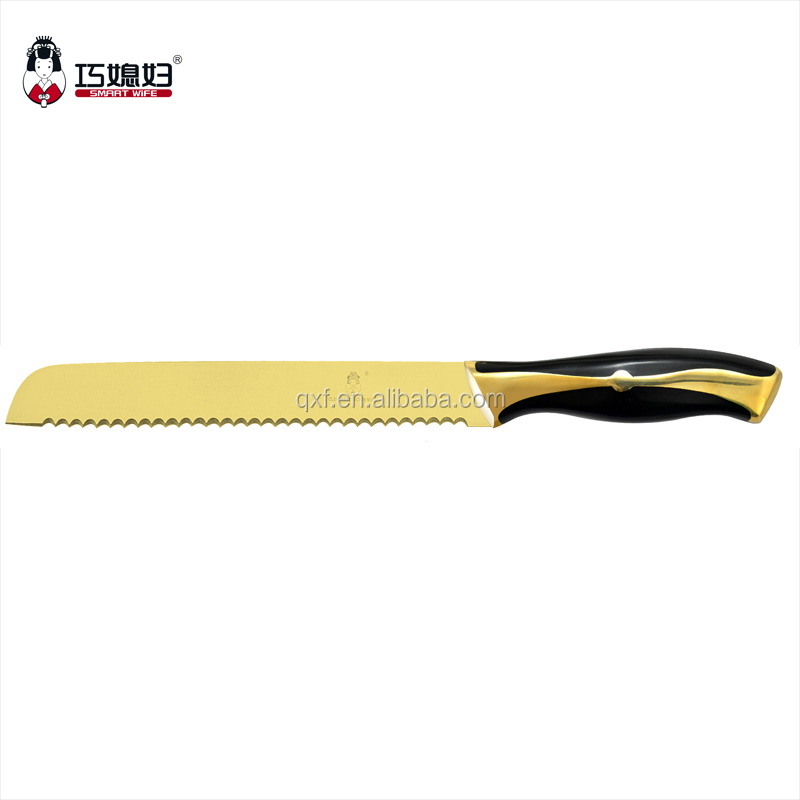 "Easy Can Use Classic Kitchen Tools For 8"" Bread Knife 2016 New design golden blade"