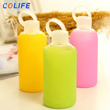 Custom Child Easy Carry Safe Carrying Drinking Glass Water Bottle With Silicone Sleeve