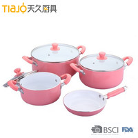 7 Pcs pink aluminum cookware set with white ceramic coating and soft touch handle