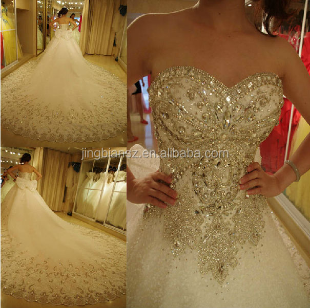 Gorgeous luxurious full crystal long train bridal gown wedding dress OW14