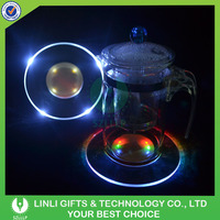 13cm Transparent Led Flashing Cup Pad with LOGO