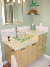 Discount glass vessel sink and counter top and bath cabinet