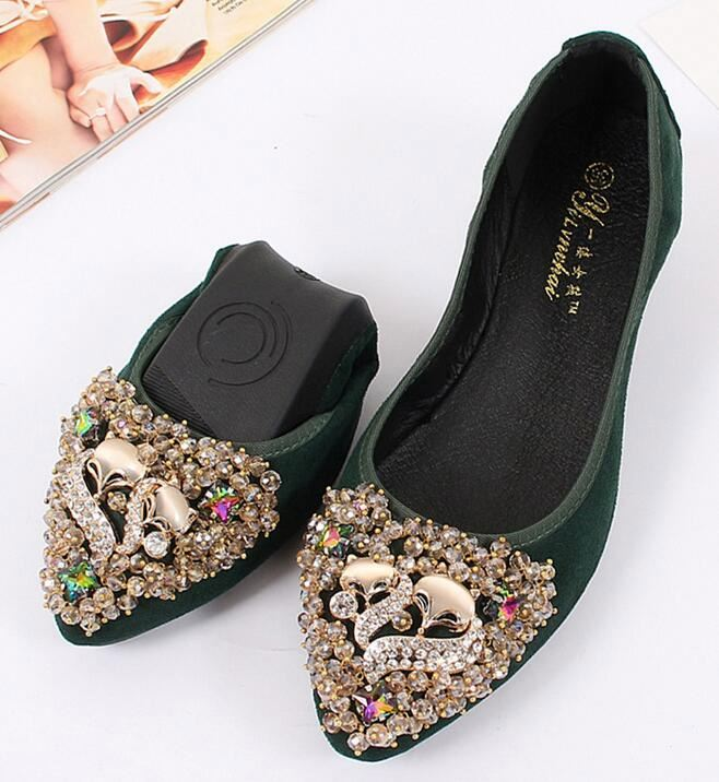 2017 New design Women Crystal Ballet Folding Shoes Casual Rhinestone Soft Driving Flats Dancing Egg Rolls Shoes Size 32-43
