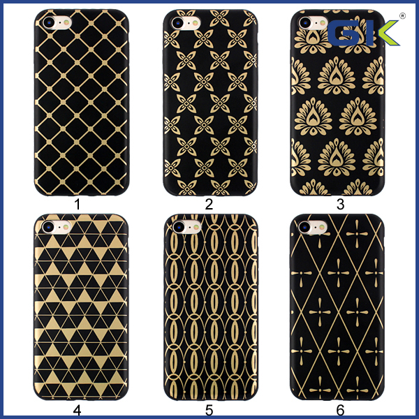 [GGIT] Cool Black Electroplating Laser Etching With Pattern TPU Cover For IPhone 7 Phone Case
