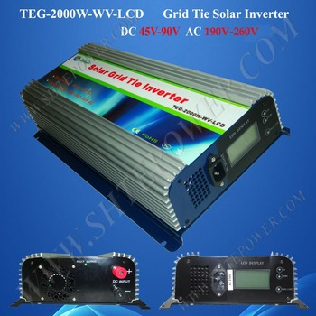 LCD Display DC 45-90v MPPT Grid Tie Inverter 2000w with AC 190-260v Output