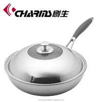 Smokeless induction stainless steel non-stick wok pan