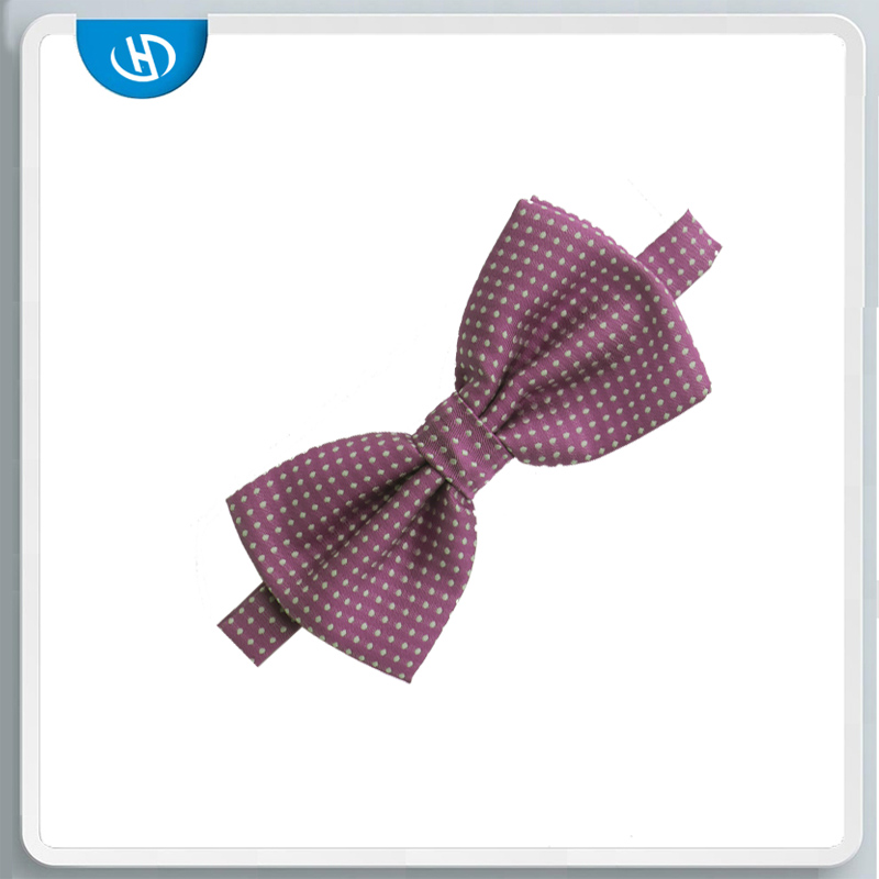 Fashion Bow Tie Accesories Woven Handmade Dot Silk Bowtie With Purple Color