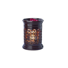 Brown Chevron Candle Warmer Aromatherapy Wax Melter Ceramic Oil Lamp