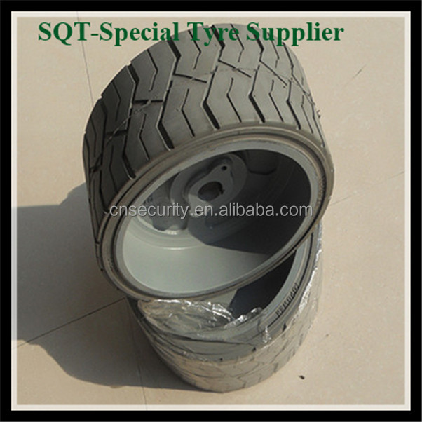 16 1/4*8*10 Chinese cheap airless tires for sale,solid rubber tires for lifting platform