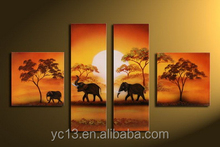4pcs panel the elephant family african landscape home decor oil painting