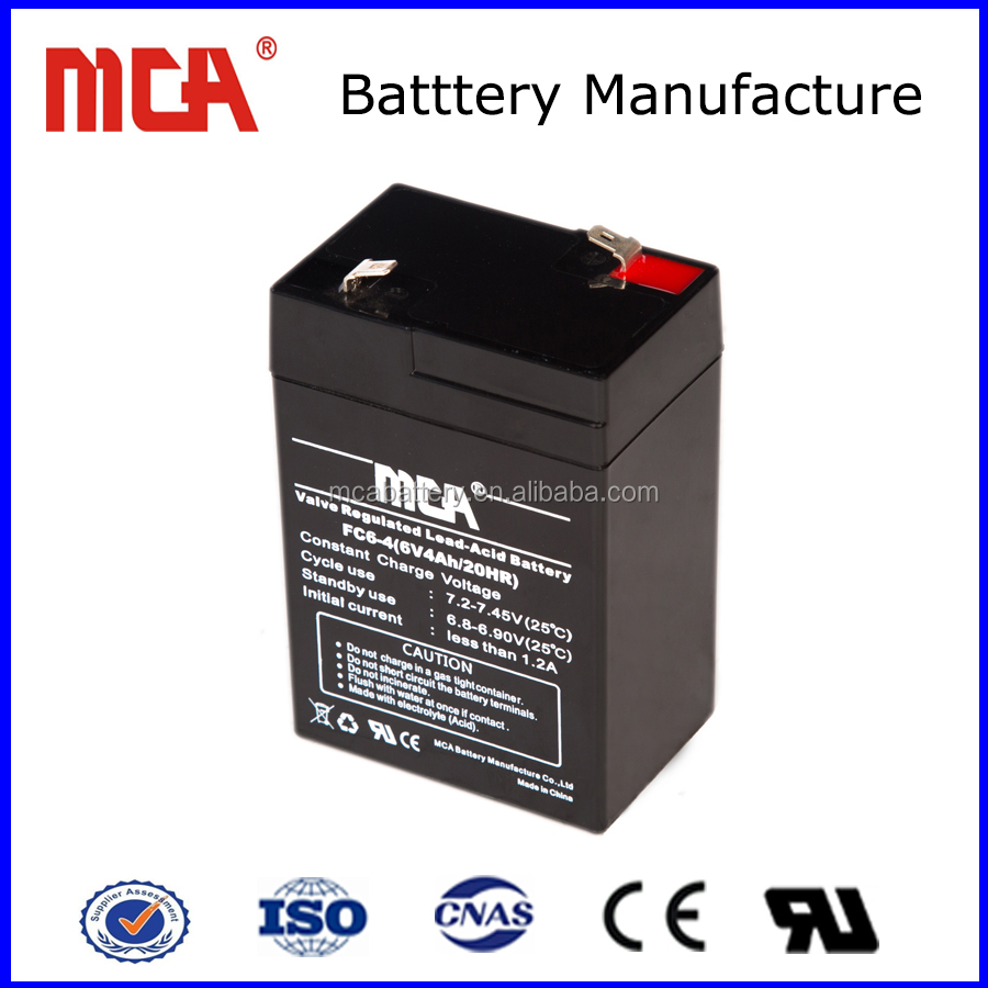 6V 4Ah Free maintenance sealed lead acid battery small rechargeable battery