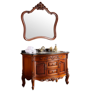 Luxury French Hotel Solid Wood Furniture Sets Antique Bathroom Vanity Cabinets