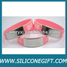 Silicone bracelet with metal/metal clasp/metal plate