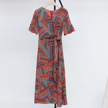Women bohemia wrap maxi dress with short sleeves, holiday style