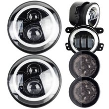 "7 Inch Round led headlight With DRL Amber Turn Singal Hi/Lo Beam + 4"" Halo Fog Light For 2007-2017 Jeep Wrangler JK TJ CJ"