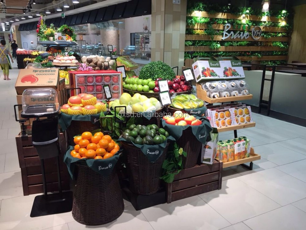 Large Synthetic Wicker Baskets for supermarket display fruit and vegetables