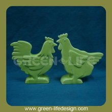 Green decorative ceramic chickens