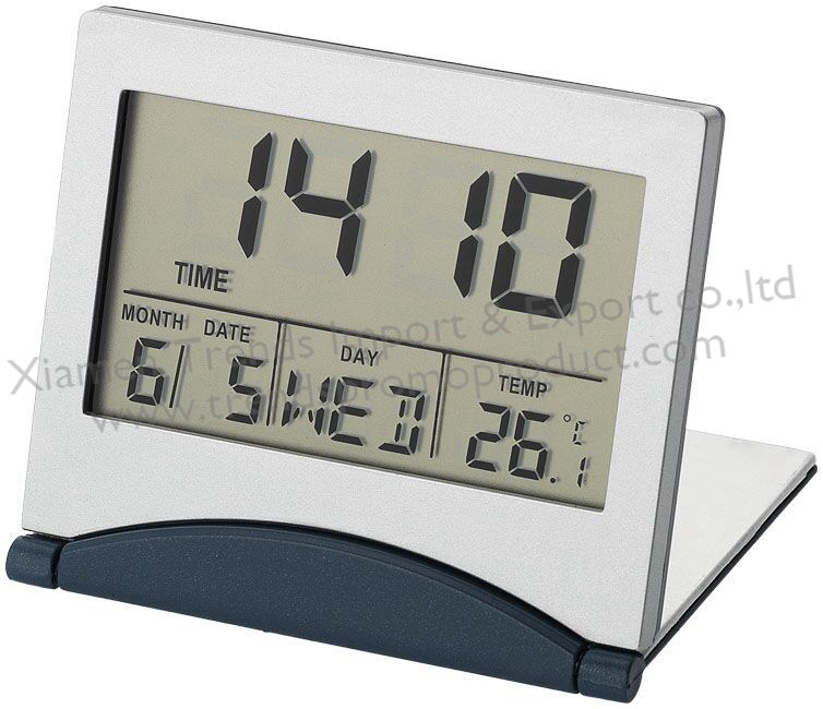 Large number Slim digital lcd Foldable Mini traveller alarm clock with calendar,bedside desk thin Sliding FoldUp travel clock
