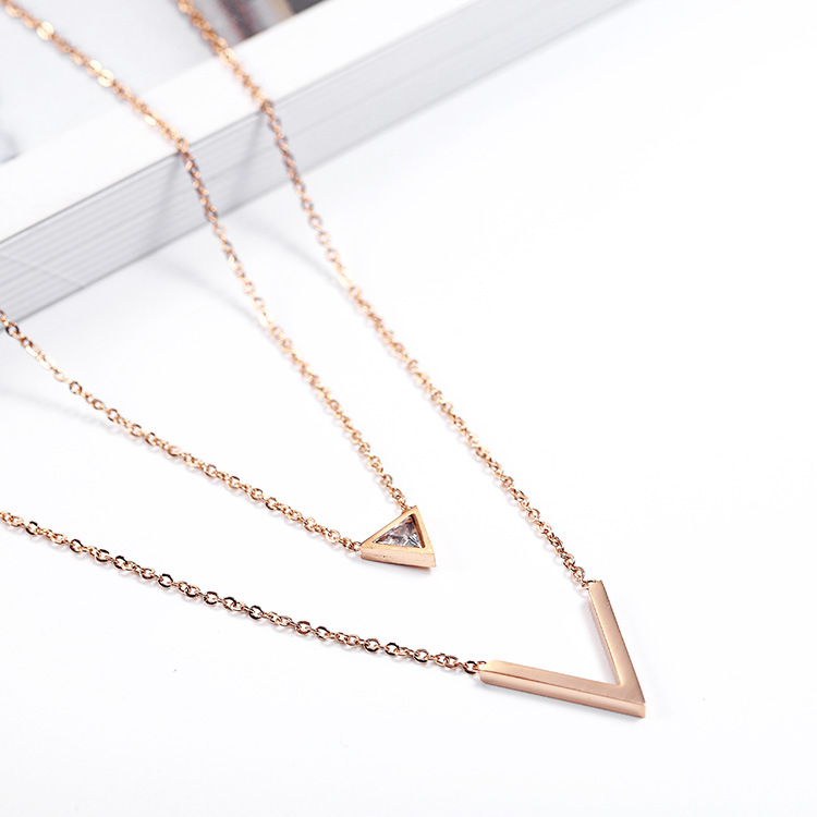 European Fashion Long Chain Sweater Necklace Double Layer Geometric Crystal Rhinestone V Shape Pendant Necklace