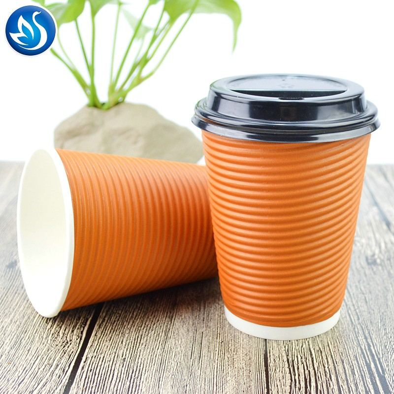 Disposable hot drinking custom logo ripple wall paper coffee cup