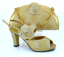 2017 latest design Gold African Ladies Evening Shoes With Matching Bag