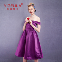 YIGELILA 2015 Romantic Pleats Womens Summer Purple Satin Sexy Off Shoulder Party Prom Dresses 61203 UK On Sale Online Shopping