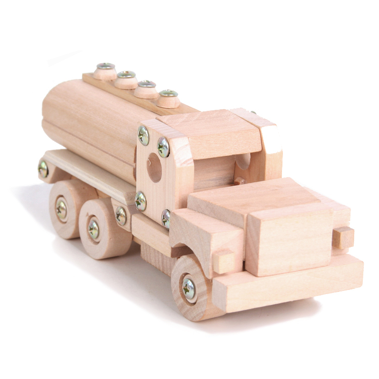 Cheap popular wooden fuel tank car assemble toy