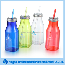 food grade plastic square drink bottle with screwed cap and lid for milk, juice, soft drinks, carbonated drinks