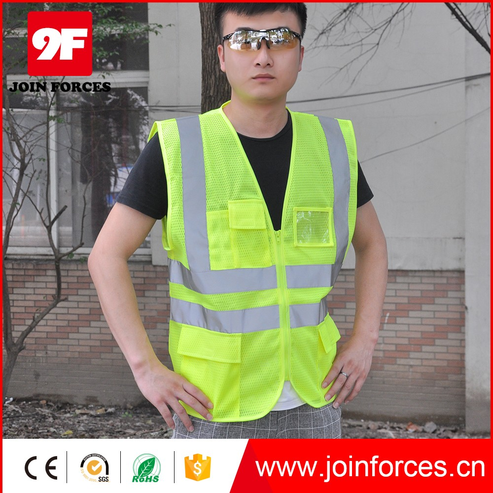 100% polyester EN20471 reflective mesh safety vest with pockets
