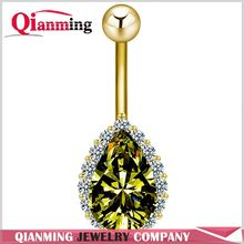 Water Drop Belly Button Ring For Women Rhinestone Sapphire Piercing Body Jewelry Gold Plated Dangle for Women