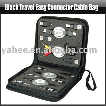 Travel Easy Connector Cable Bag USB/NETWORK/RJ45/RJ11,YHA-PC015
