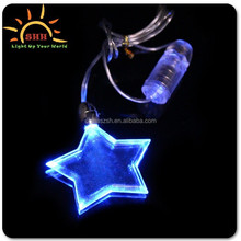 led flashing star necklace, plastic star necklace, blinking led necklace star