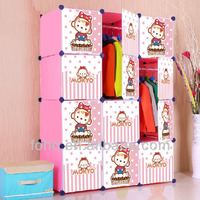 New DIY Free Assemble Eco-friendly Plastic Bedroom Kids Wardrobe With Cartoon Door
