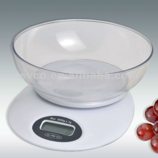 Portion Pro Durable Digital Kitchen Scale w/Acrylic Bowl - White