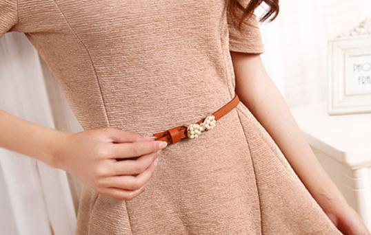 New design lady candy color slender pearlite layer pu leather belt