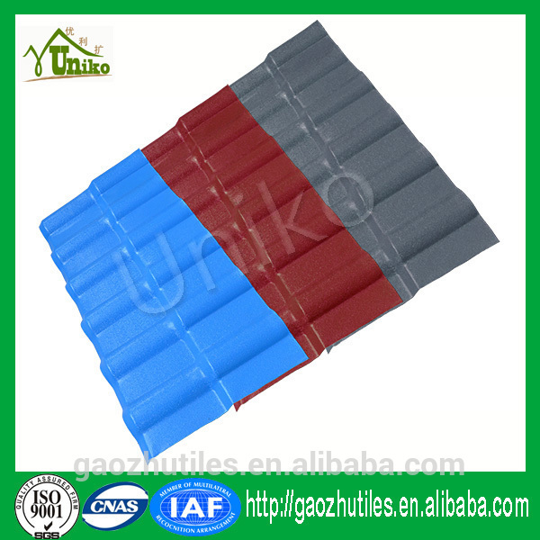 co-extrusion good sound insulation spanish pvc roofing tile blue color