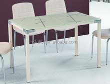 simple high quality glass top and metal leg glass dinning table
