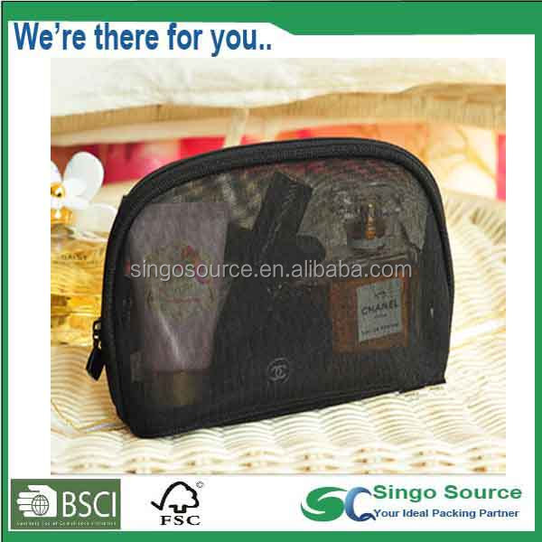 Smart Black Mesh travel Cosmetic bag With zipper