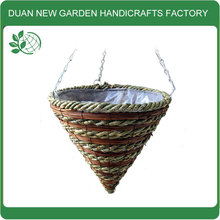 Wicker cone hanging baskets wholesale
