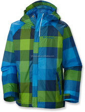 KID'S multi-color grid coat with detachable hood