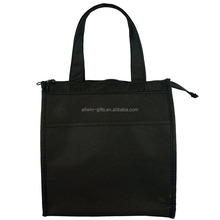 Promotional insulated non woven laminated shopping bag with zipper