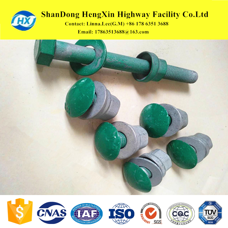 highway road safety guardrail mushroom head bolts nuts spliced the rails and blocks and posts